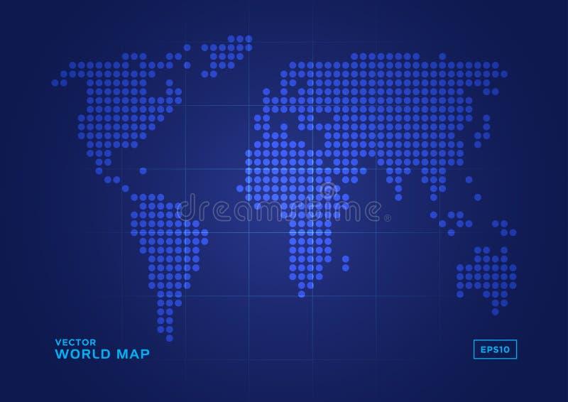 голубые многоточия составляют карту вокруг мира иллюстрация вектора