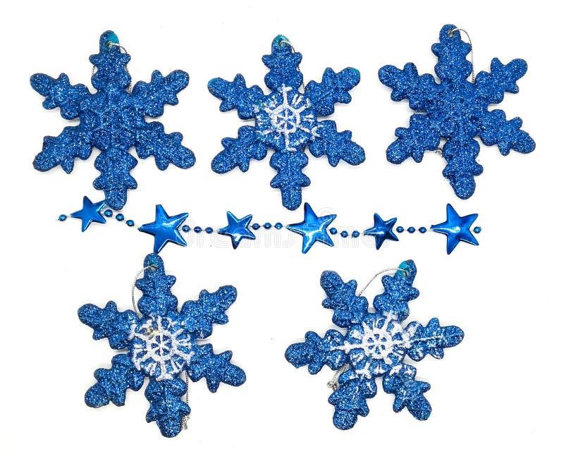 Голубые украшения рождества в составе стоковая фотография rf