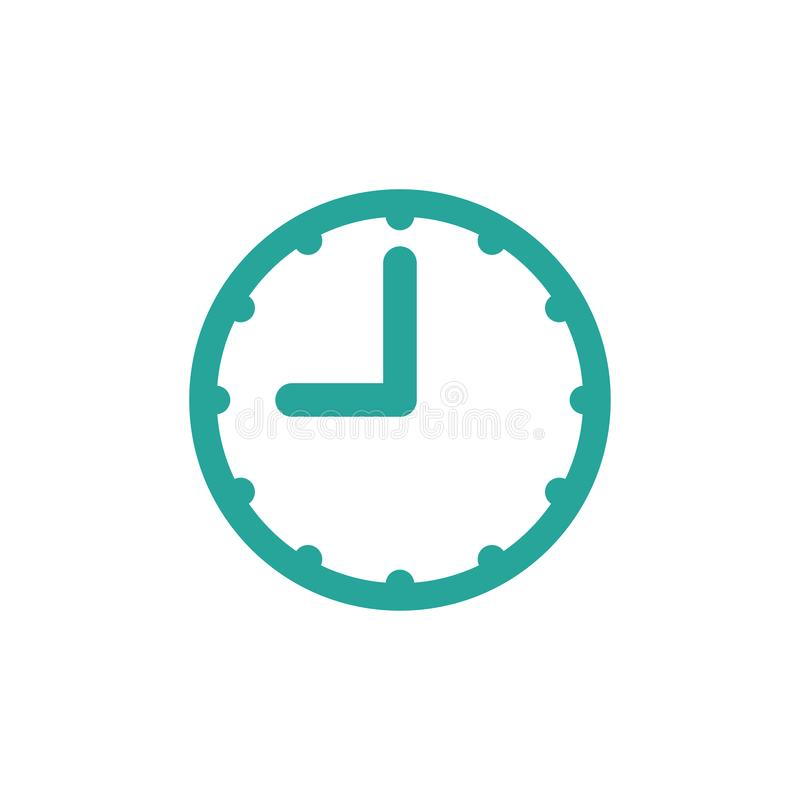 голубые часы Плоский значок изолированный на белизне иллюстрация вектора