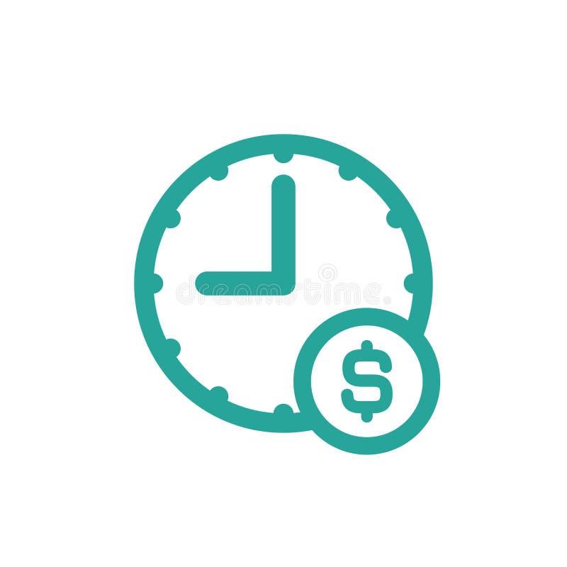 Голубые часы со знаком доллара Плоский значок изолированный на белизне бесплатная иллюстрация