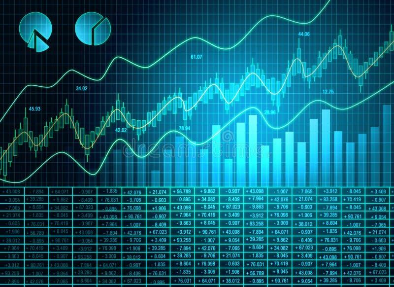 Голубые обои диаграммы валют иллюстрация вектора