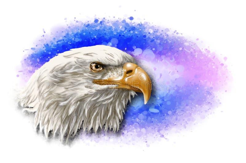 Голова белоголового орлана на абстрактной предпосылке иллюстрация вектора