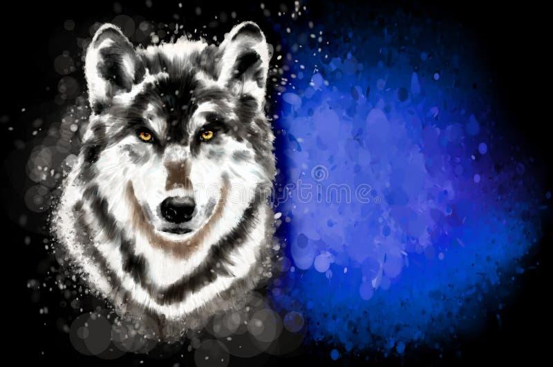 Голова волка на голубой абстрактной предпосылке иллюстрация вектора
