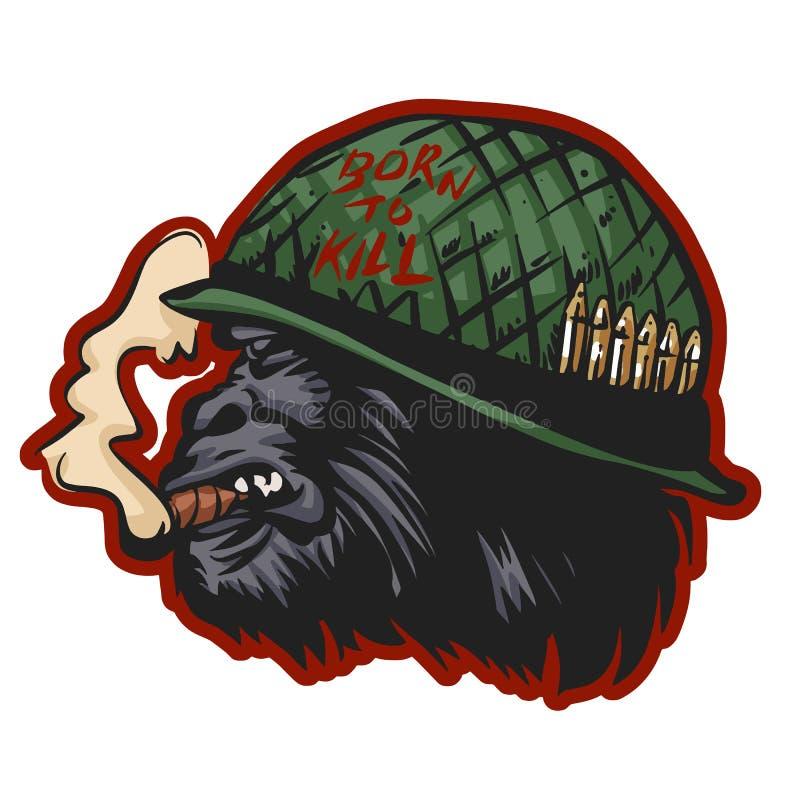 Голова гориллы в шлеме солдата с sigarette бесплатная иллюстрация