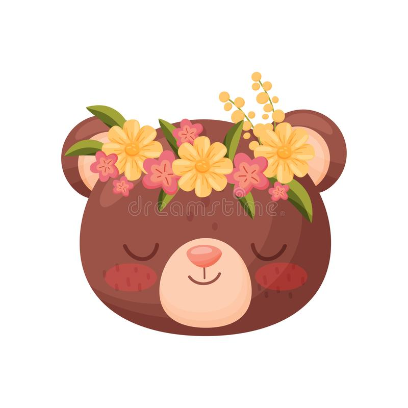 Голова медведя с венком цветка Флора и концепция фауны иллюстрация штока