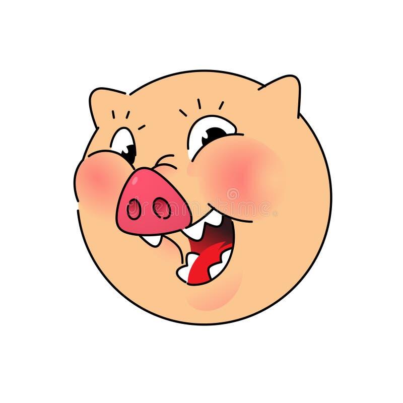 Голова свиньи вектор Логотип, символ для компании Эмблема для фаст-фуда и еды Хряк круглой головки Животное мяса бактерий смешно иллюстрация штока