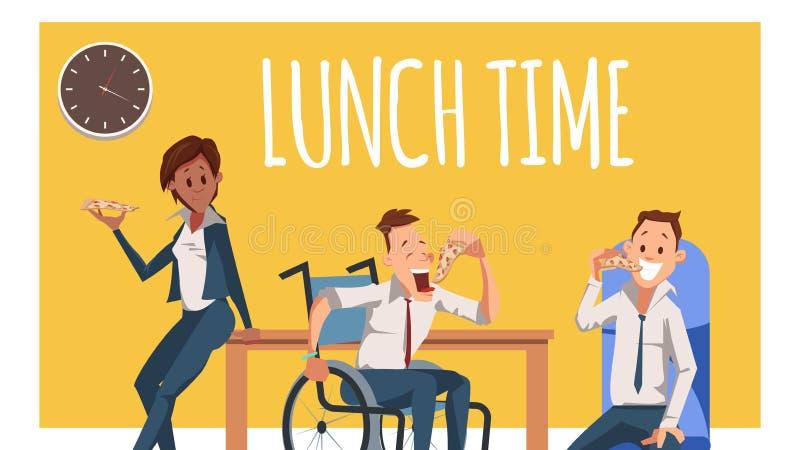 Голодный сотрудник имеет перерыв на обед с пиццей иллюстрация штока