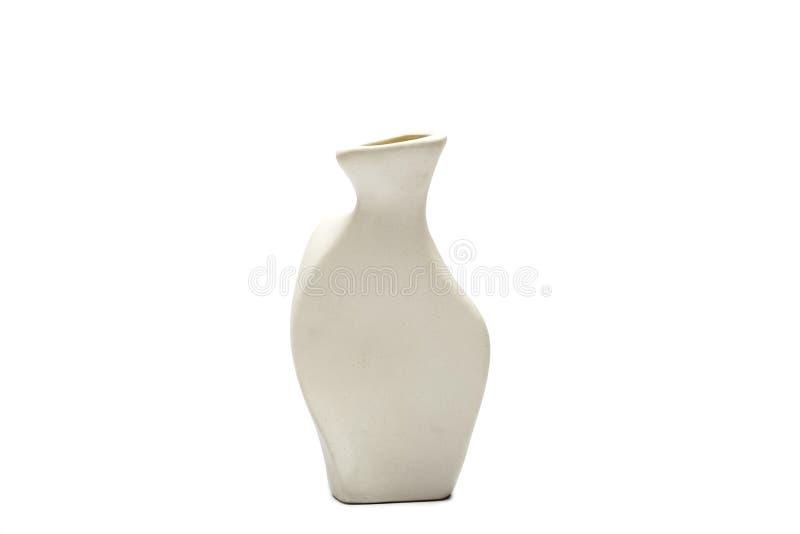 Гончарня, ваза, белый кувшин глины изолированный на белой предпосылке Модель-макет гончарни сделанный из белой глины на белой пре стоковая фотография rf