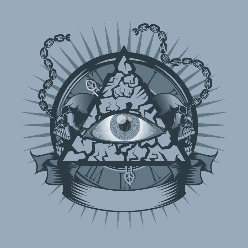 Год сбора винограда все видя глаз в треугольнике с дозорами и черепами позади иллюстрация вектора