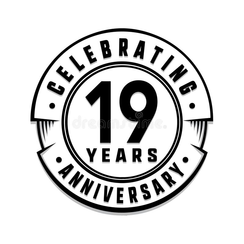19 годовщины лет шаблона логотипа девятнадцатые вектор и иллюстрация иллюстрация вектора