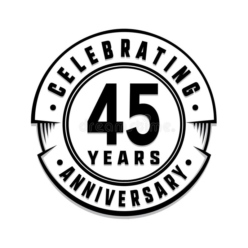 45 годовщины лет шаблона логотипа 45th вектор и иллюстрация иллюстрация штока