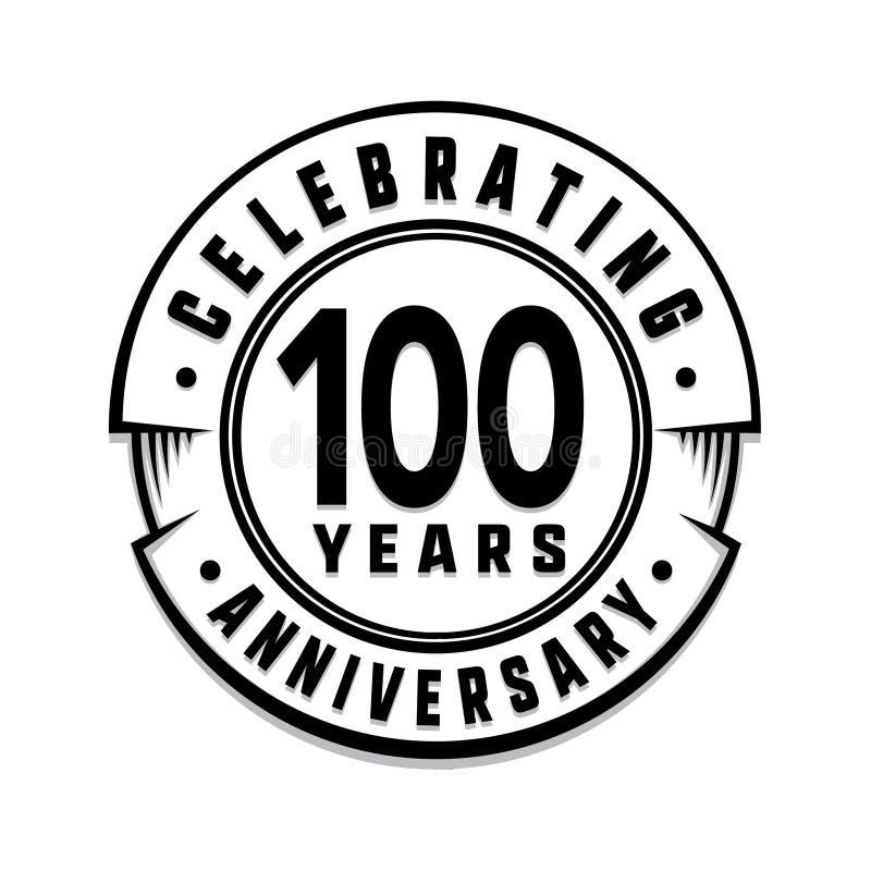 100 годовщины лет шаблона логотипа 100th вектор и иллюстрация иллюстрация штока