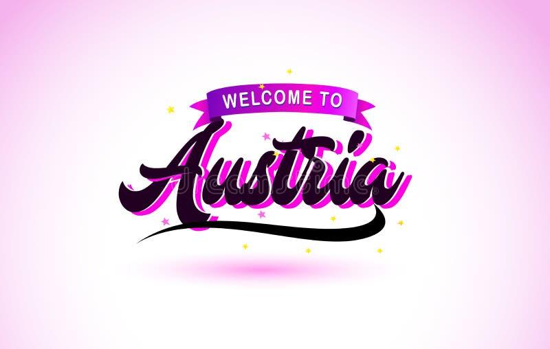 Гостеприимсво Австрии к шрифту творческого текста рукописному с пурпурными розовыми цветами конструирует иллюстрация вектора