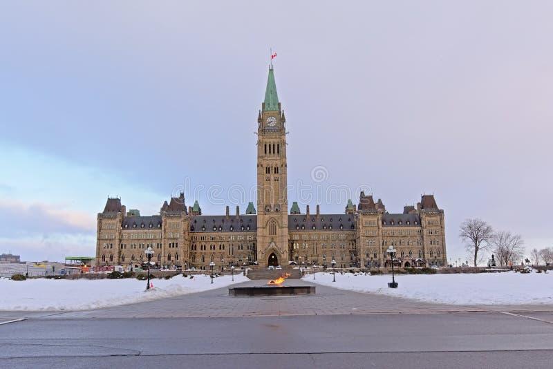 Готическое здание правительства возрождения с башней мира и пламя centennial во фронте на холме Pariament стоковые изображения rf