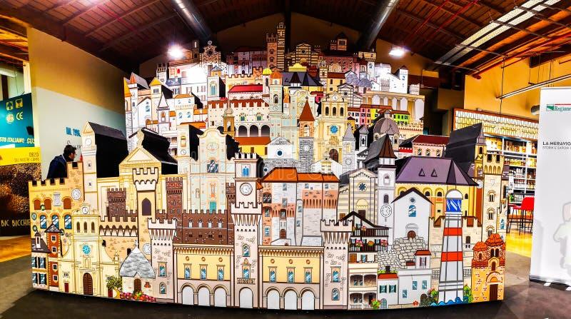 Горизонтальная картонная модель представляя деревни и города Италии стоковое изображение rf