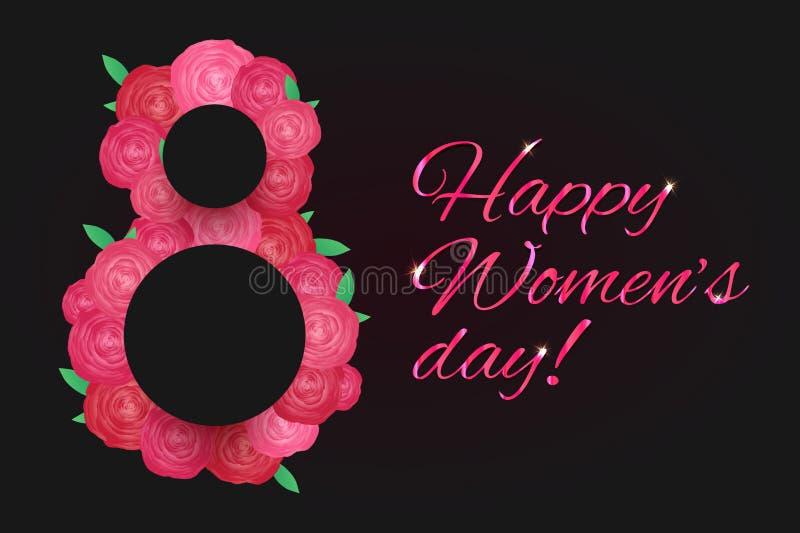 Горизонтальная поздравительная открытка 8-ое марта - день женщин с розовыми розовыми цветками на темной предпосылке 8 сделал из ц иллюстрация штока