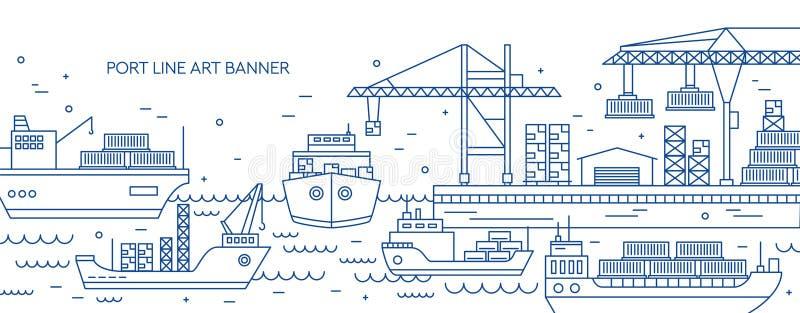Горизонтальное знамя с морским портом, морским терминалом груза, сосудами перевозки или кораблями нося контейнеры нарисованные с  иллюстрация вектора