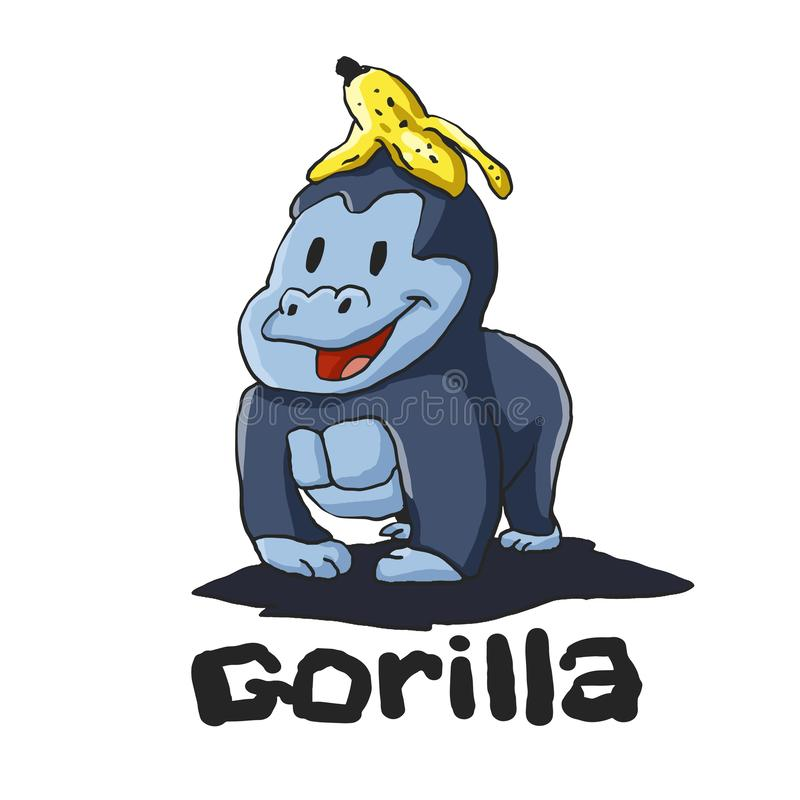Горилла с бананом на голове иллюстрация вектора