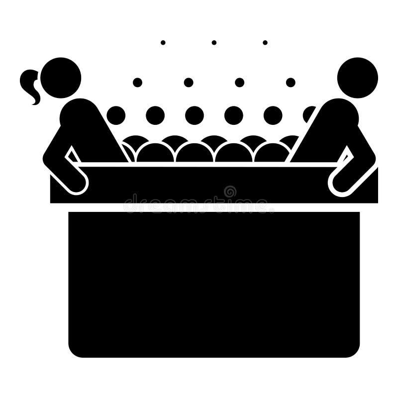 Горячий водоворот с ванной спа женщины и человека с ванной пузырей пены ослабляет иллюстрацию вектора цвета черноты значка спа ва бесплатная иллюстрация