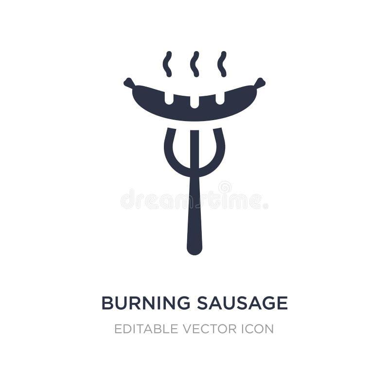 горя сосиска на значке вилки на белой предпосылке Простая иллюстрация элемента от концепции еды иллюстрация вектора