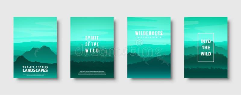 Горы и ландшафт природы леса одичалый Перемещение и приключение панорама В древесины Линия горизонта Деревья, туман иллюстрация вектора