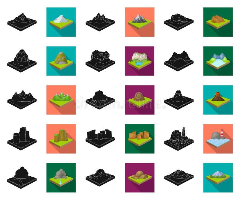 Горы, массивная чернота, плоские значки в установленном собрании для дизайна Поверхность запаса символа вектора земли равновелико иллюстрация штока