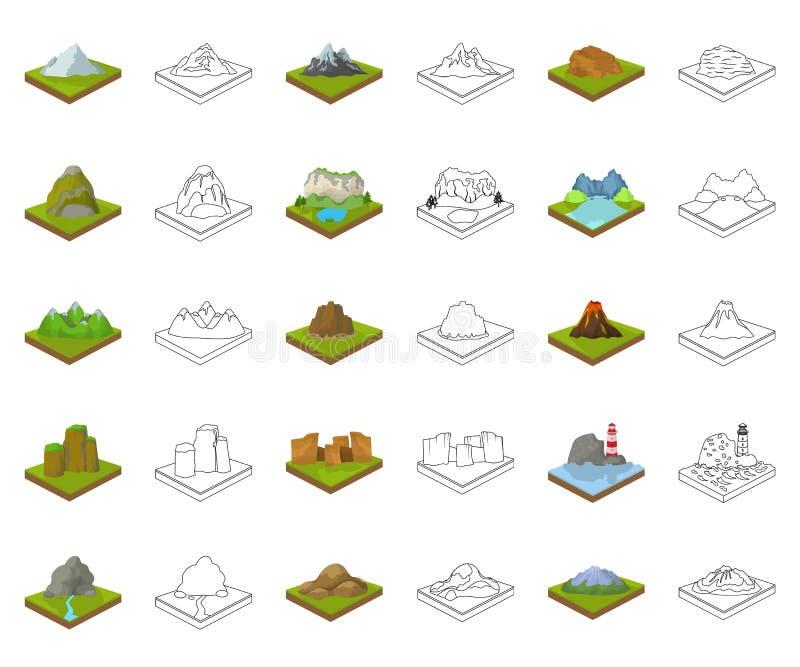 Горы, массивный мультфильм, значки плана в установленном собрании для дизайна Поверхность символа вектора земли равновеликого иллюстрация штока