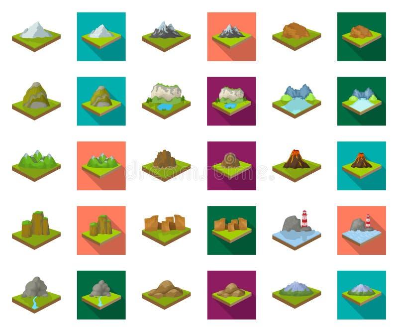 Горы, массивный мультфильм, плоские значки в установленном собрании для дизайна Поверхность символа вектора земли равновеликого иллюстрация вектора