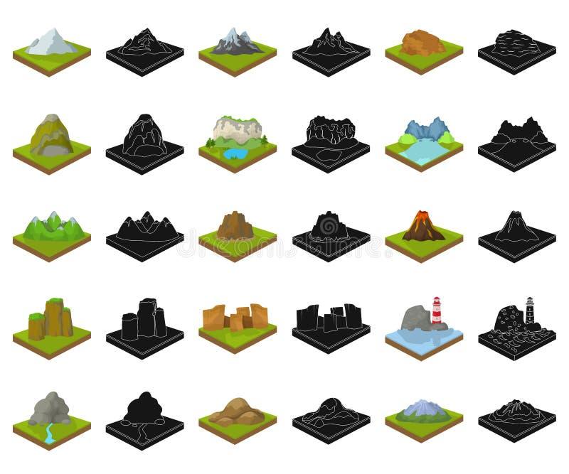 Горы, массивный мультфильм, черные значки в установленном собрании для дизайна Поверхность символа вектора земли равновеликого иллюстрация штока