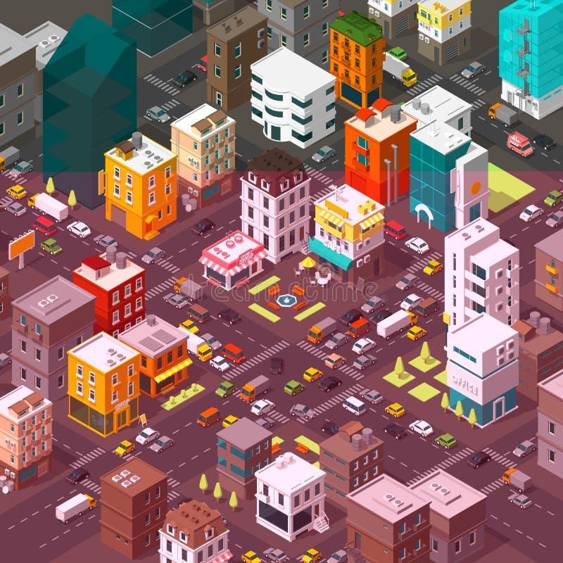 Город вектора равновеликий Район городка мультфильма Дорога 3d пересечения улицы Очень высокая проекция детали Автомобили кончают иллюстрация штока