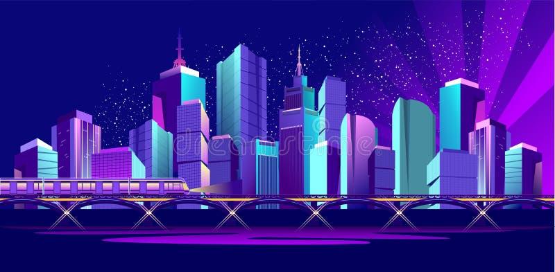 Город ночи знамени вектора бесплатная иллюстрация