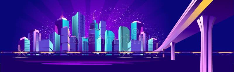 Город ночи знамени вектора иллюстрация штока