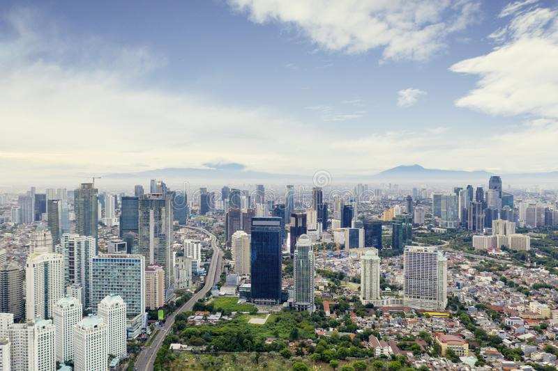 Город Джакарты с современными офисными зданиями стоковое фото rf