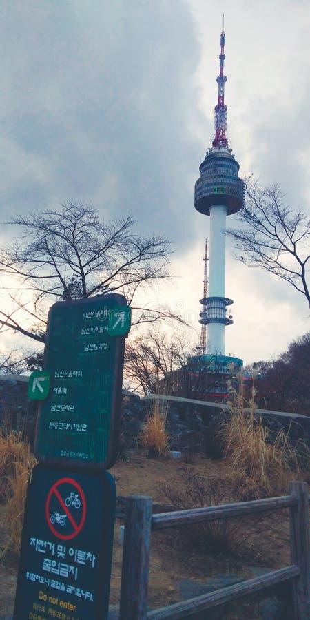 Город света Кореи башни Сеула стоковая фотография