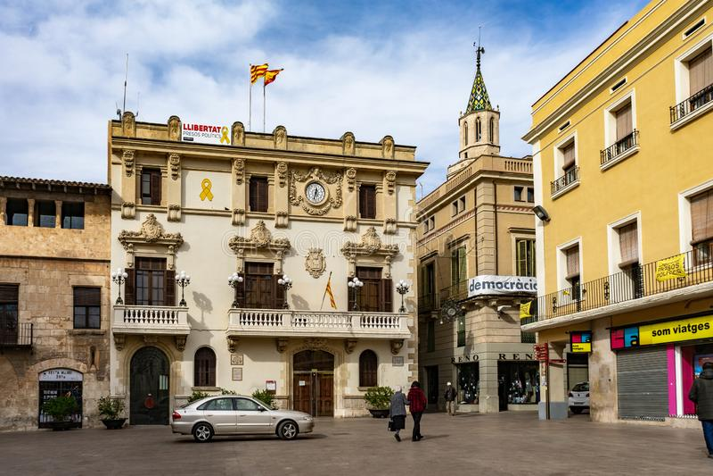 Городская ратуша Vila Ла de Касы в Vilafranca del Penedes, Каталонии, Испании стоковые изображения