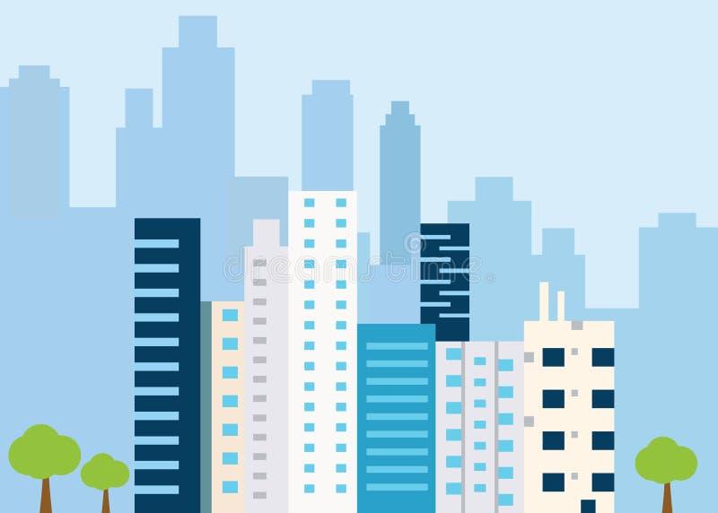 Городской ландшафт с большими современными зданиями Город концепции и пригородная жизнь иллюстрация вектора