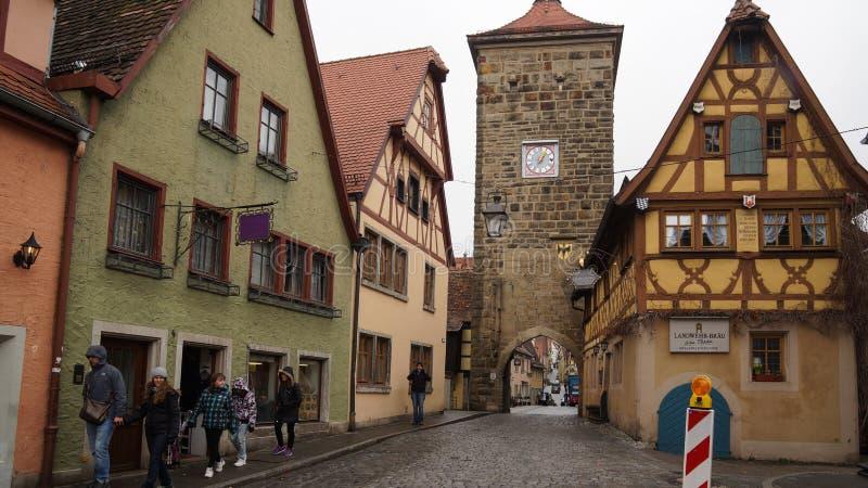 Город туристского назначения Ротенбург исторический стоковая фотография