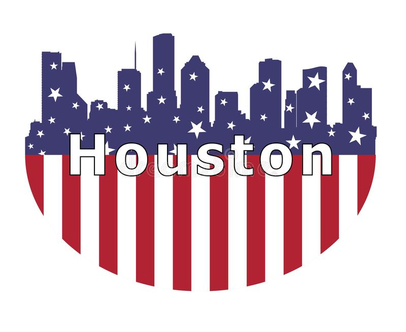 Город Хьюстон и флаг США иллюстрация штока