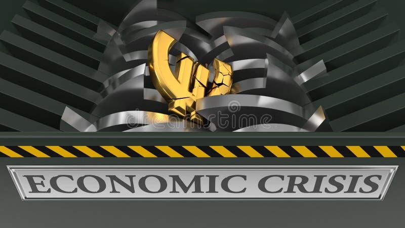 Евро упаденное в шредер изображение res кризиса принципиальной схемы цифрово хозяйственное произведенное высокое иллюстрация 3d иллюстрация штока
