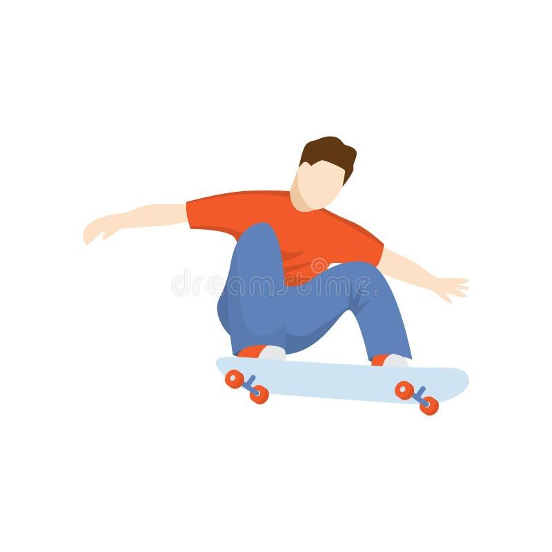 Езды скейтбордиста сидя на коньке изолированном против белой предпосылки иллюстрация вектора