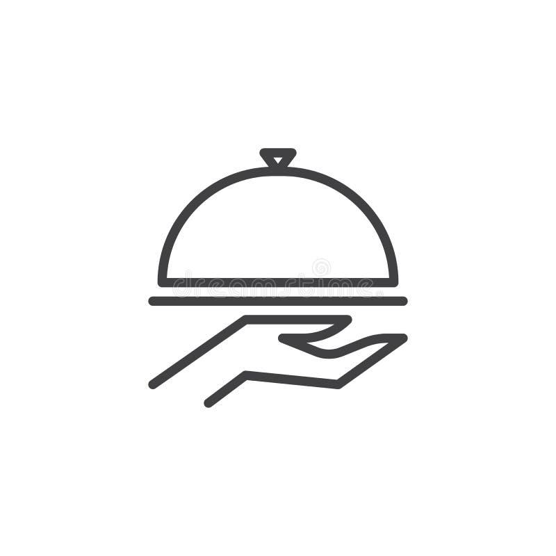 Еда покрывает в наличии линию значок иллюстрация вектора