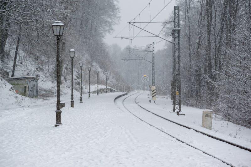 Железные дороги покрытые снегом в зиме Словакия стоковая фотография rf