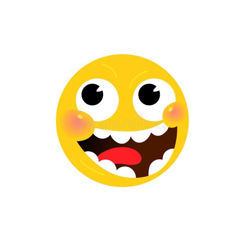 Желтая круглая головка, сторона вектор Плоская иллюстрация стилизованного человеческого лица Круглый знак Жизнерадостное emoji Си иллюстрация вектора