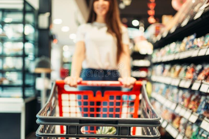 Женский клиент с тележкой в продовольственном магазине стоковое фото