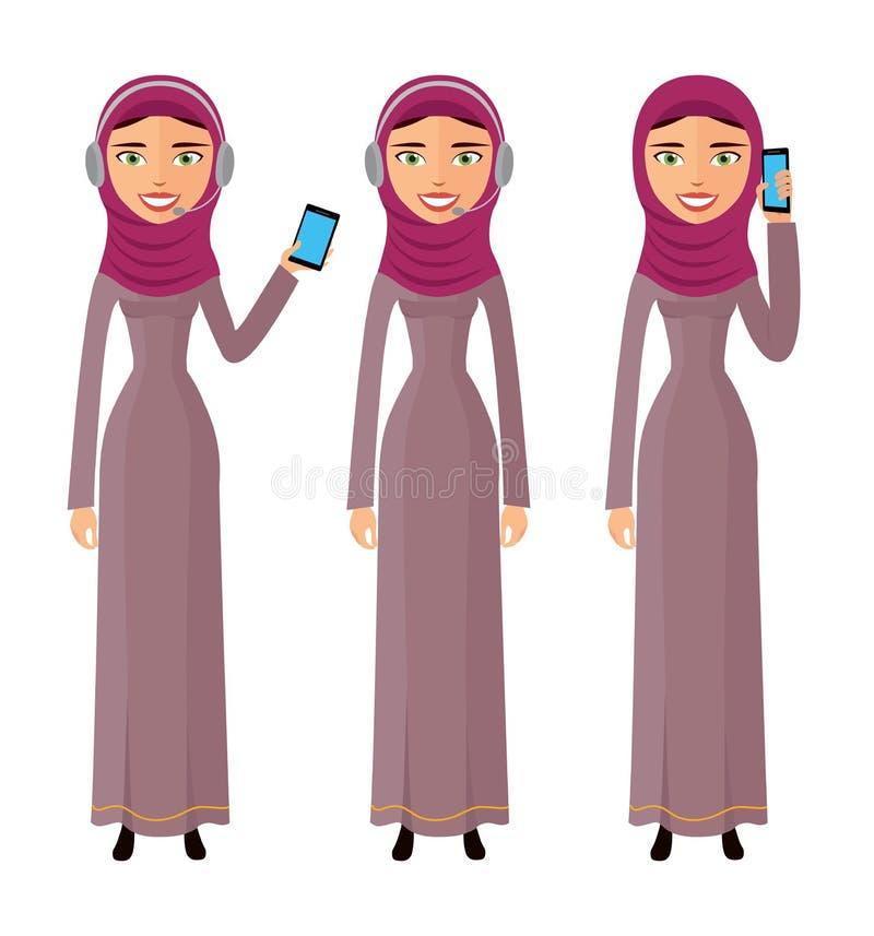 Женский оператор центра телефонного обслуживания с иллюстрацией вектора помощи телефона работы с клиентом связи веб-дизайна значк иллюстрация вектора