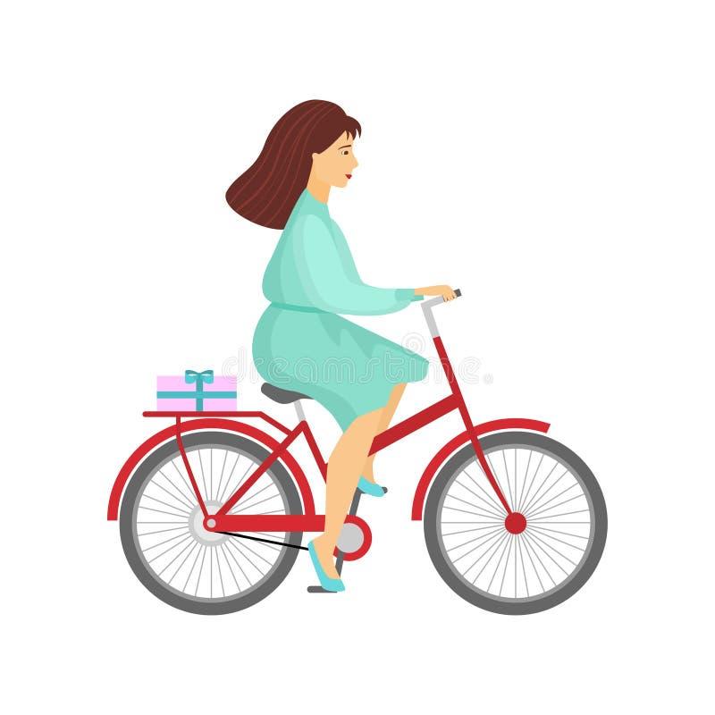Женщина в зеленом платье ехать красный велосипед с подарком на хоботе на белизне иллюстрация штока