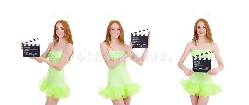 Женщина в зеленом платье с доской фильма стоковое изображение rf