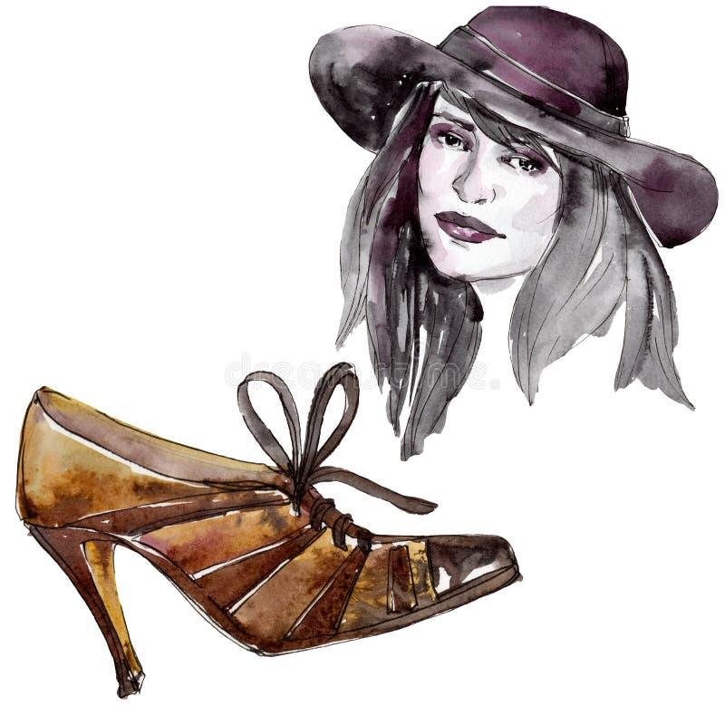Женщина в иллюстрации очарования эскиза шляпы и ботинка в элементе акварели изолированном стилем вектор illustratiom конструкции  иллюстрация штока
