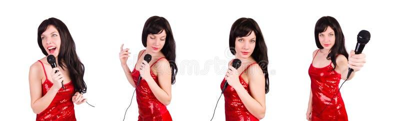 Женщина в красных песнях петь платья стоковая фотография