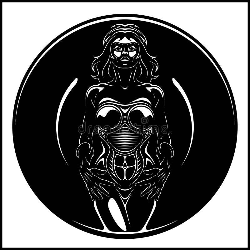 Женщина кибер, девушка, дама андроида, иллюстрация эскиза реалистической руки вычерченная, женщина androin вектора иллюстрация штока